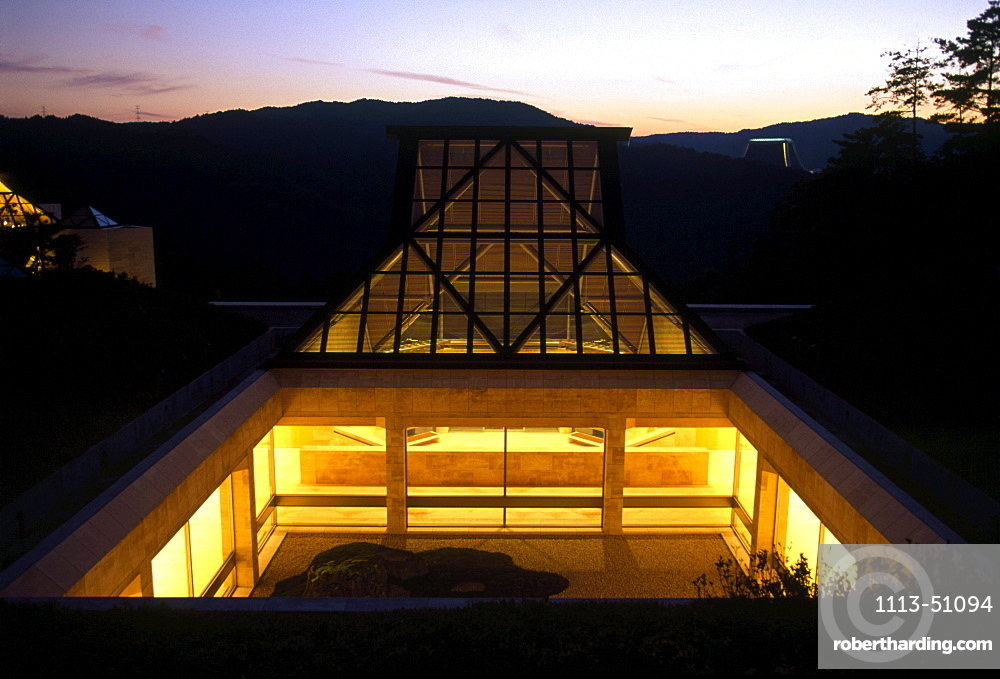 View at an atrium of the Miho Museum in the evening, Shigaraki, Japan