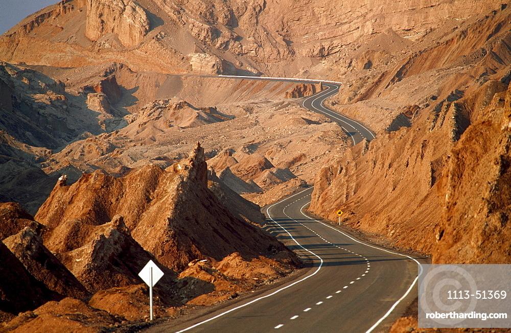 Road near San Pedro de Atacama, Valle de la Luna, Valley of the Moon, Atacama Desert, Chile