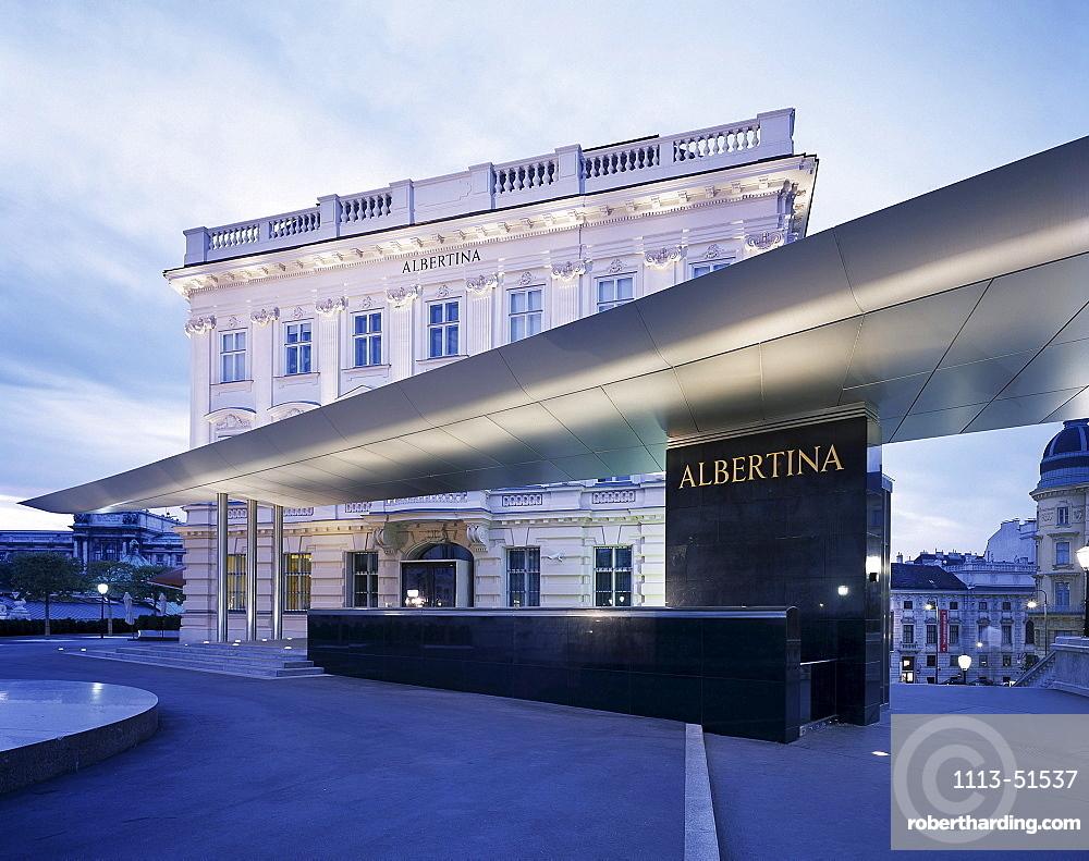 View at the museum Albertina at dusk, Vienna, Austria