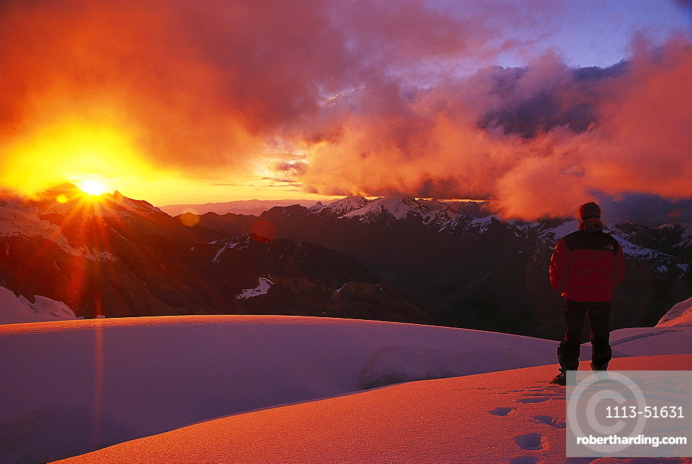 Man watching the sunset, Alpamayo, Cordillera Blanca, Peru, South America