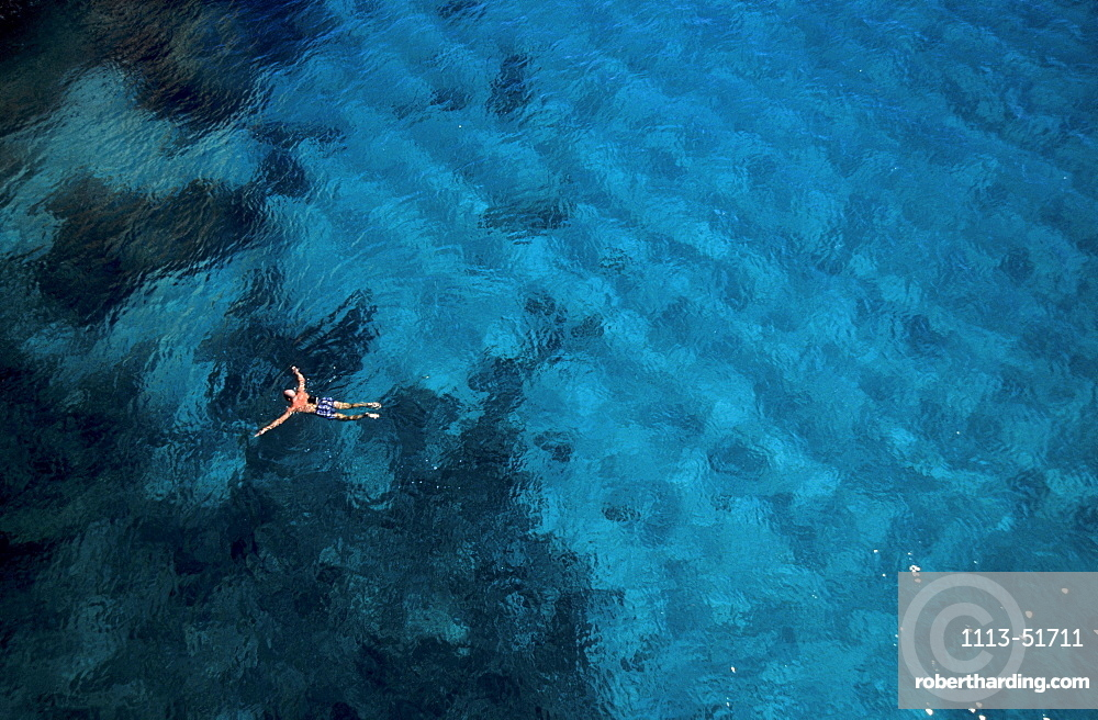 Man swimming in the sea, Mediterranean, Mallorca, Balearic Islands, Spain