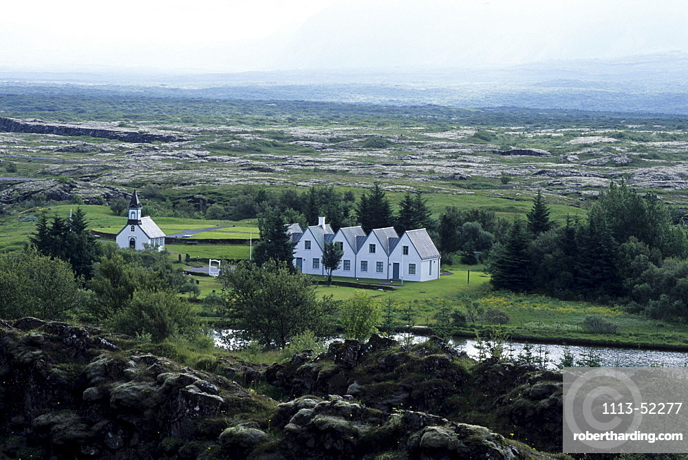 Buildings at Pingvellir, Near Almannagja Rift, Pingvellir National Park, Iceland