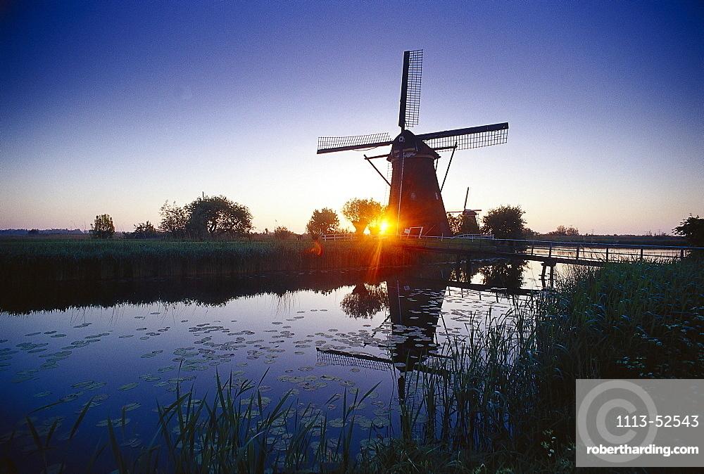 Windmill at sunset, Kinderdijk, Netherlands