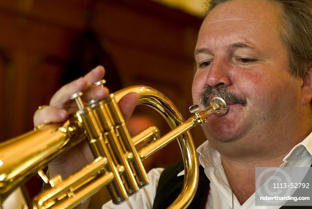 Wind section of the Krinoliner Blaskapelle brass band, Fraunhofer Restaurant, Fraunhofer Street, Munich, Bavaria, Germany