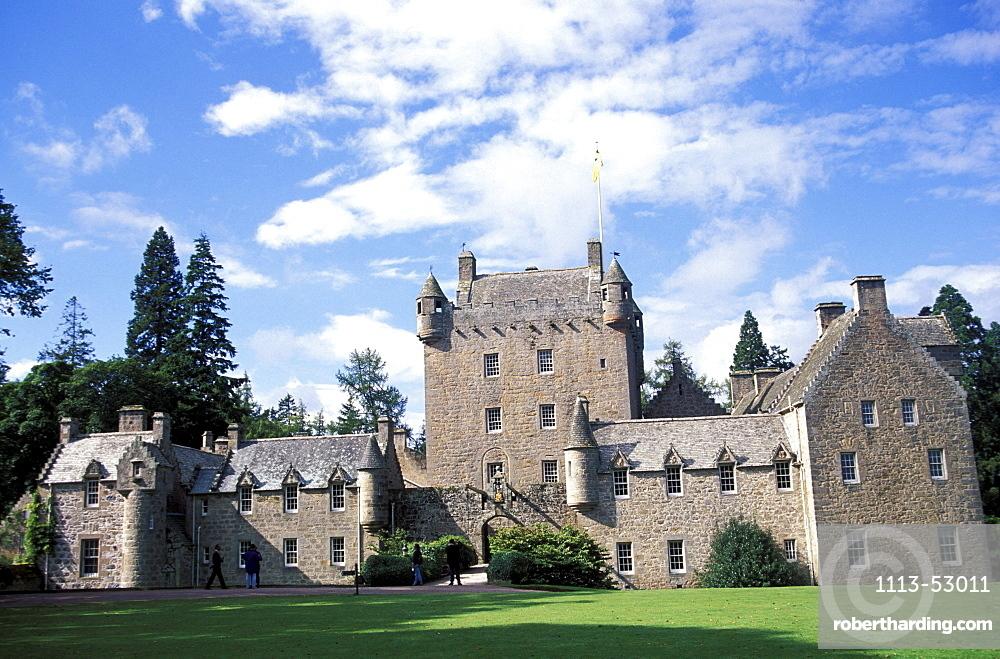 Cawdor Castle under clouded sky, Nairn, Highlands, Scotland, Great Britain, Europe