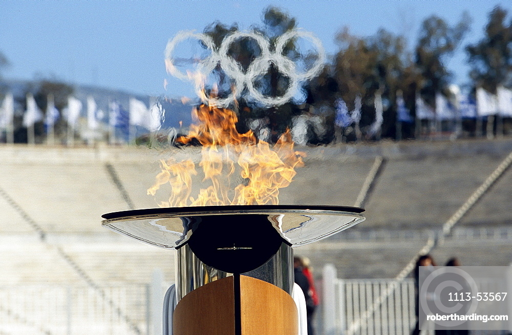 Olympic Flame and Olympic Rings, Panathenian Stadium, Athens, Greece
