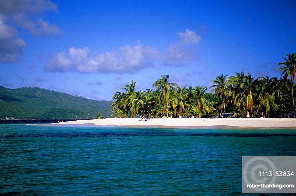 Beach with palm trees, Cayo Levantado Bahia de Samana, Cayo Levantado, Bahia de Samana, Samana Peninsula, Dominican Republic, Antilles, Caribbean