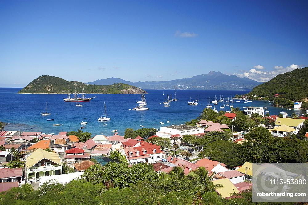 Aerial view of Terre-de-Haute, Les Saintes Islands, Guadeloupe, Caribbean Sea, America