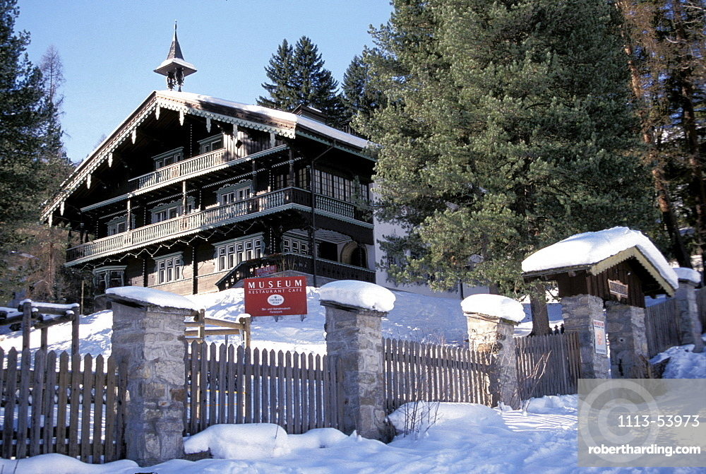 Snow covered museum in the mountains, St. Anton, Tyrol, Austria, Europe