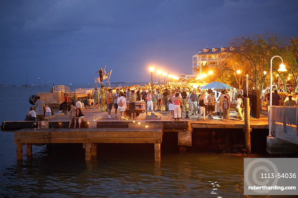 Pier filled with spectators at the daily sunset ce, Mallory Square, Key West, Florida Keys, Florida, USA