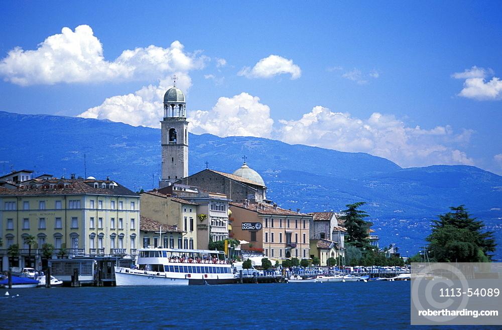 View of the city from sea, Salo, Lake Garda, Trentino, Italy