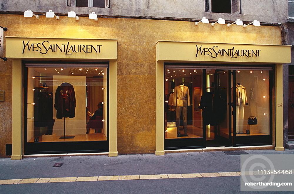 Illuminated fashion shop, Aix-en-Provence, Bouches-du-Rhone, Provence, France, Europe