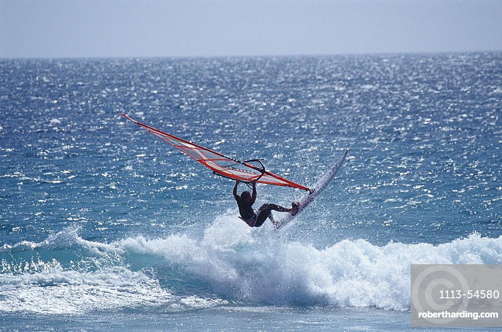 Sailboarder in the surge, Costa de la Luz, Cadiz, Andalusia, Spain, Europe