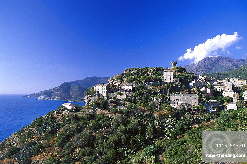 Village, watchtower, Nonza, Cap Corse Corsica, France