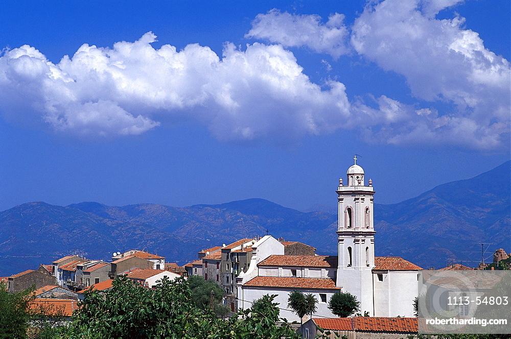Church of the village Piana near Porto, west coast, Corsica, France