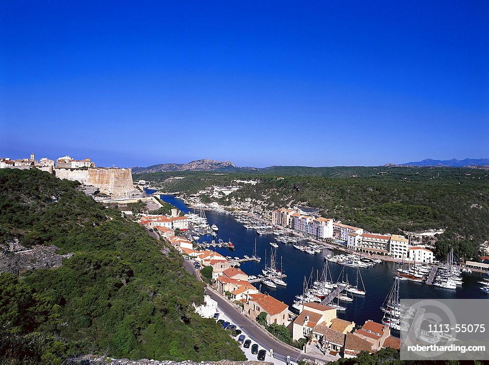 Harbour, citadel, Bonifacio, Corsica, France