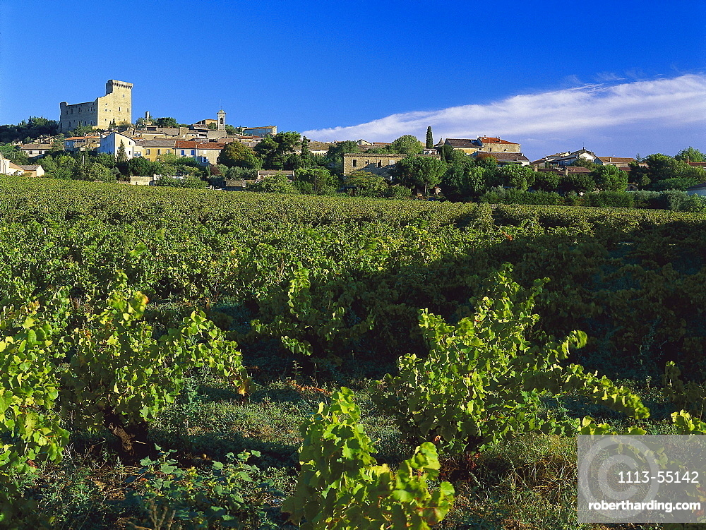 Ruins of the Chateau des Papes at the town of Chateauneuf-du-Pape, Provence, France, Europe
