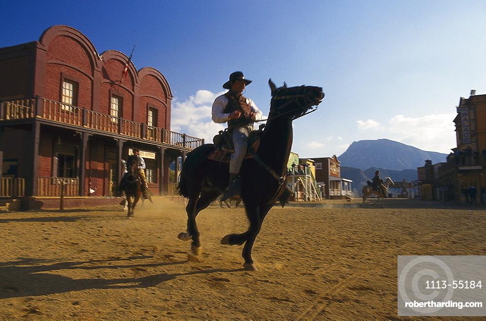 Rider in a scene at Mini Hollywood, Almeria province, Andalusia, Spain, Europe