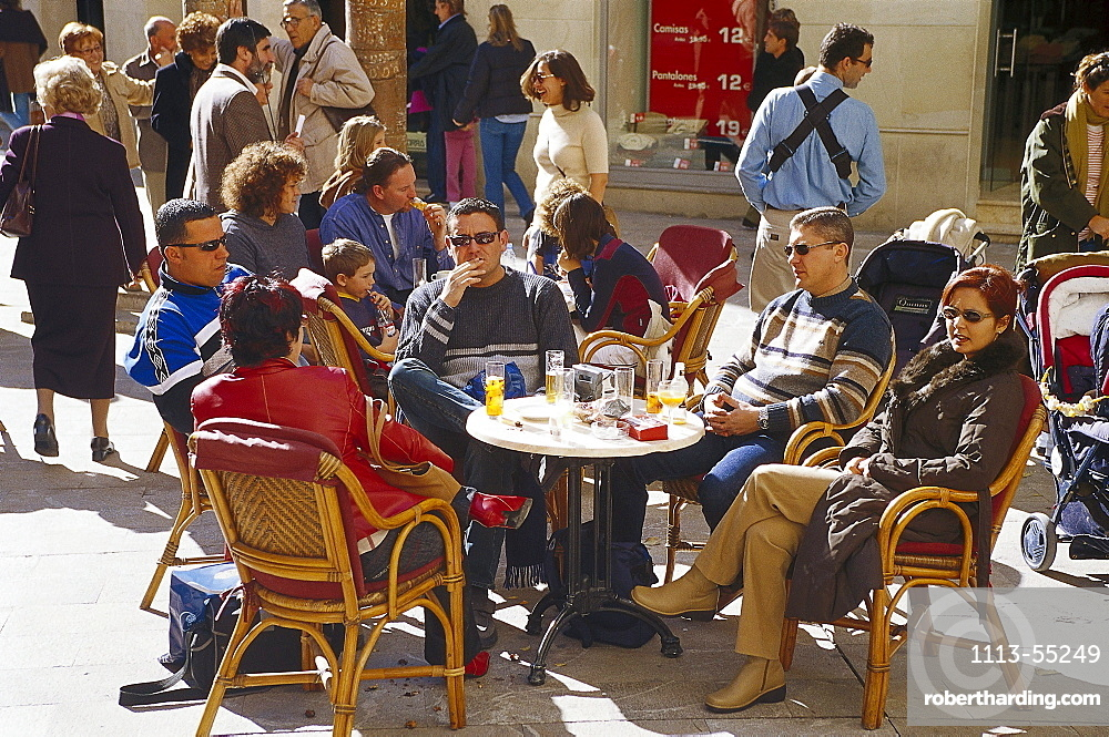 People in a street cafe, Placa Major, Palma de Mallorca, Mallorca, Spain