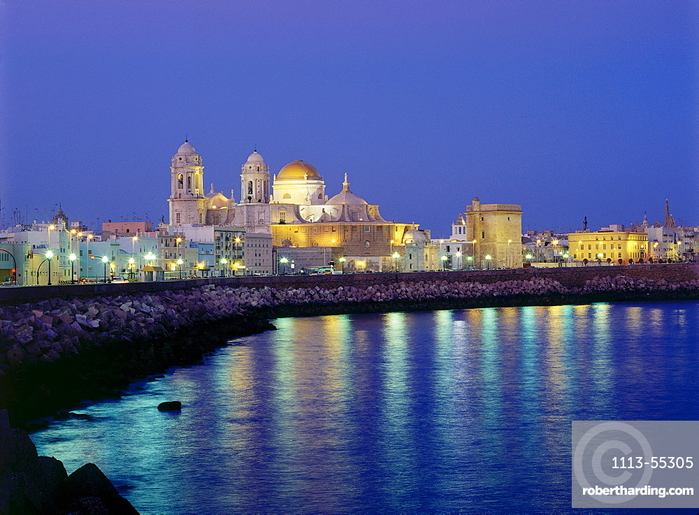 City View with Cathedral, C·diz, Mediterranean Sea, Andalusia, Spain