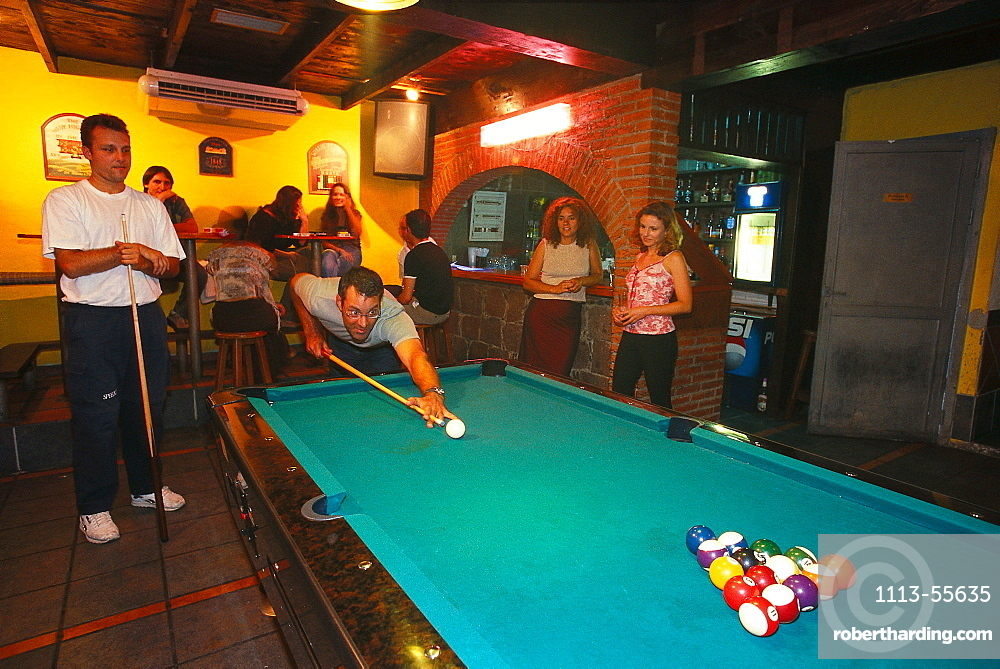 Playing Billard, Pub, La Laguna, Tenerife, Canary Islands, Spain