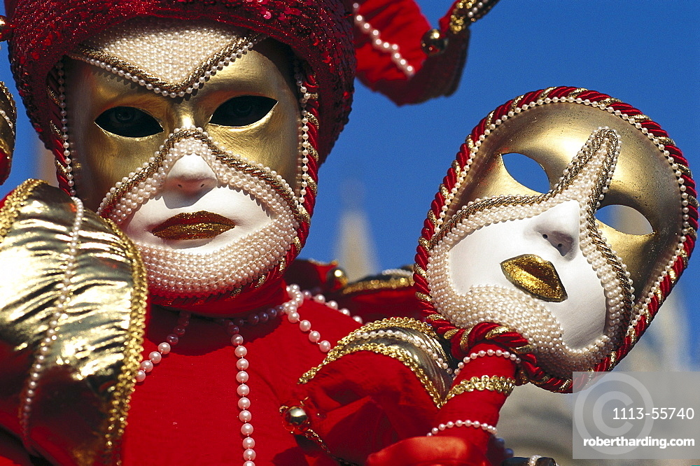 Disguised person with mask at carnival, Venice, Veneto, Italy, Europe
