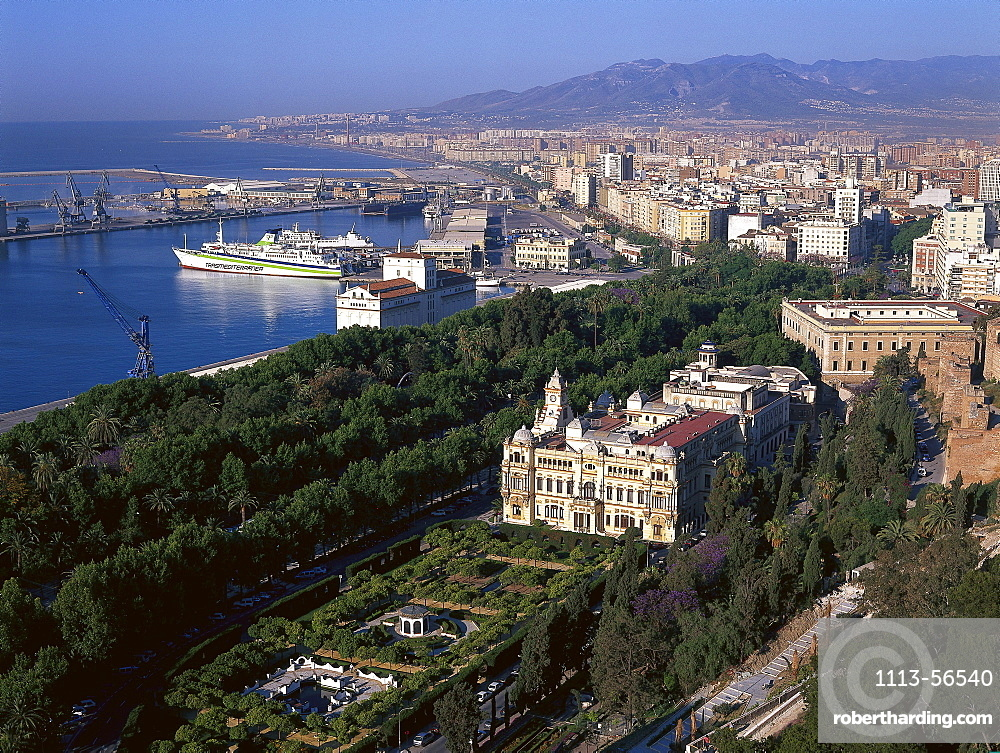 View at city hall of the town of Malaga, Costa del Sol, Andalusia, Spain, Europe