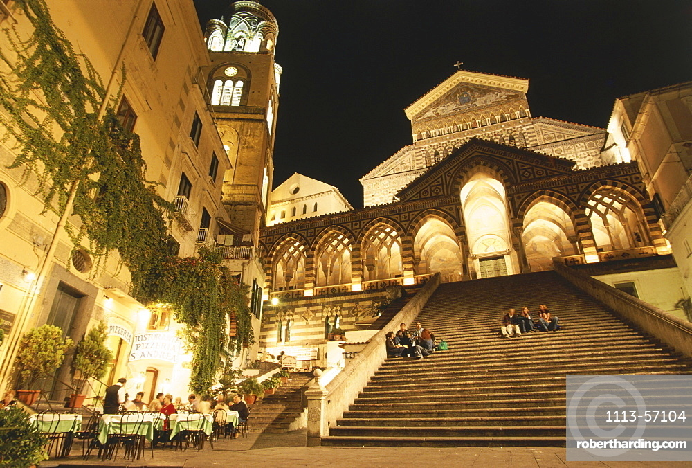 Piazza Duomo and Cathedral of S Andrea at night, Town square and Cathedral of Amalfi, Amalfi, Campania, Italy