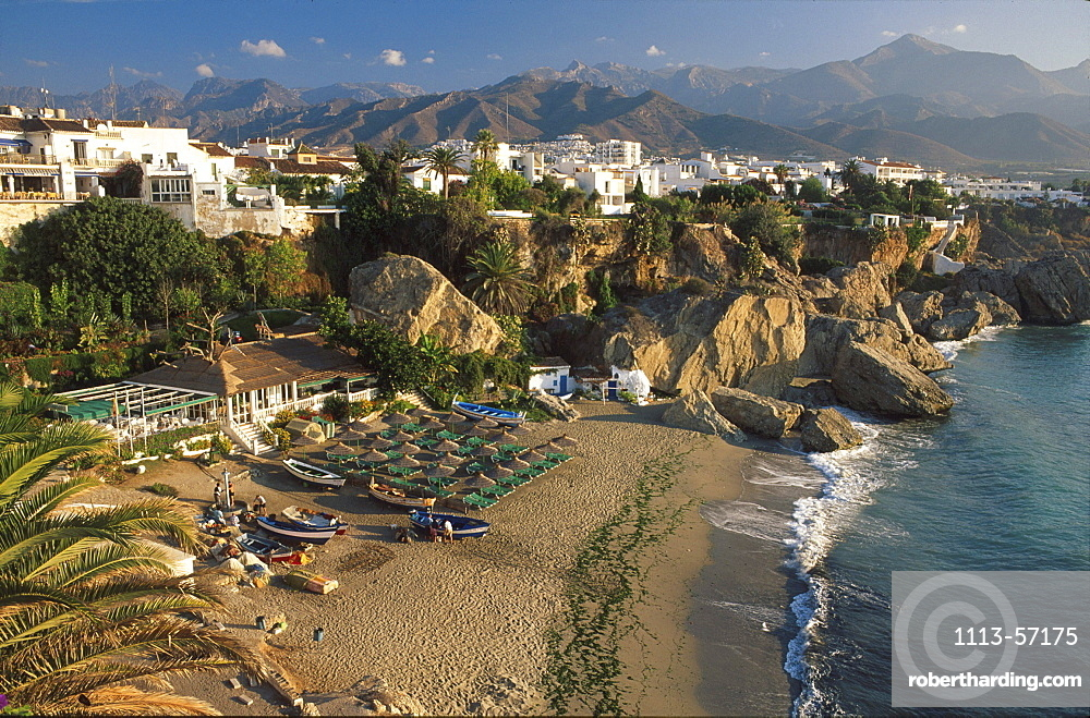 View from BalcÛn de Europa at beach in a bay, Costa del Sol, Province of Malaga, Andalusia, Spain, Europe