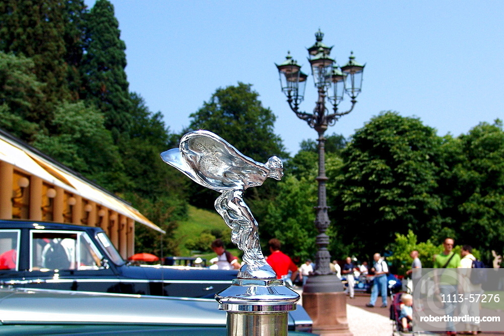 Vintage cars and people at a park, Baden-Baden, Baden-Wuerttemberg, Germany, Europe