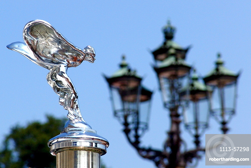 Hood ornament of a Rolls Royce Emily and street lamp, Baden-Baden, Baden-Wuerttemberg, Germany, Europe