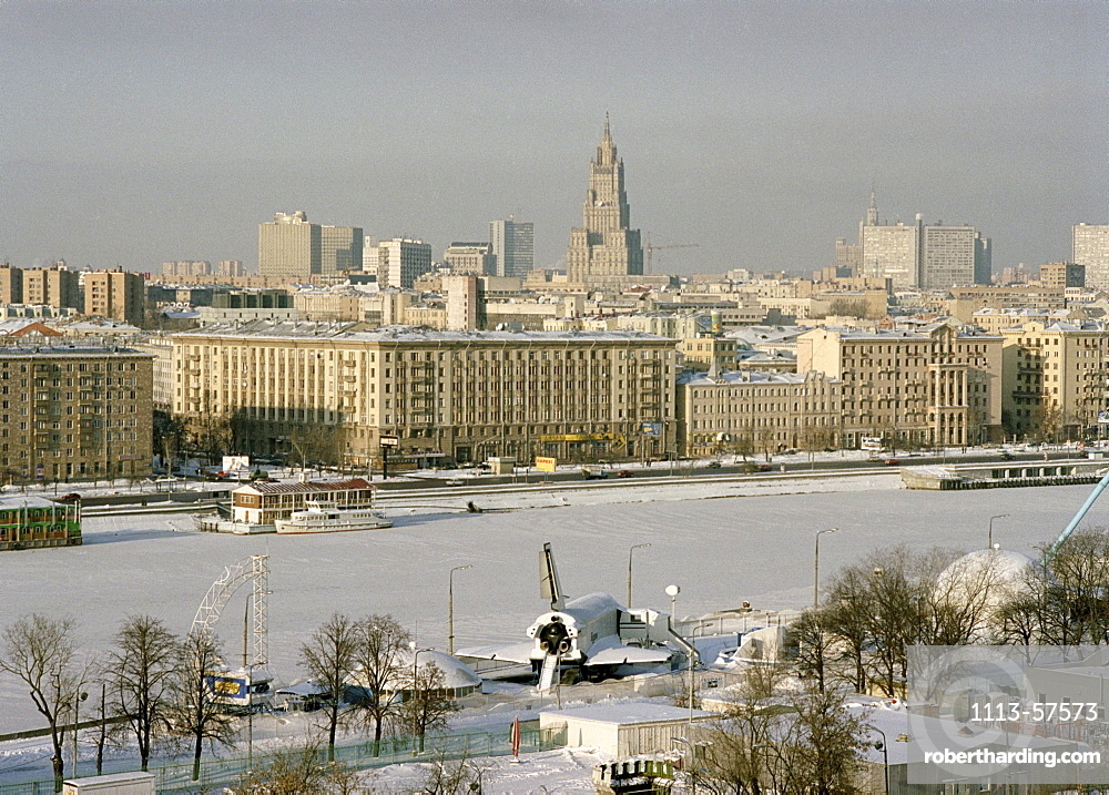 Panoramic view from ferris view over Moscow and Gorki Park, Moscow, Russia