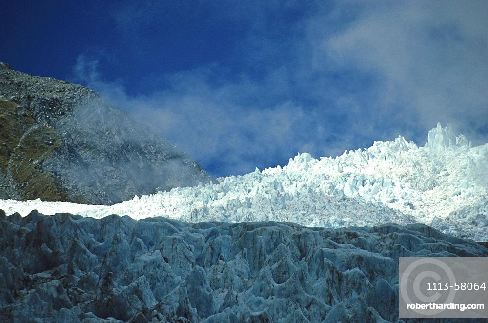 View of Franz Joseph Glacier, Terminal face of Glacier, Southern Alps, South Island, New Zealand, Oceania