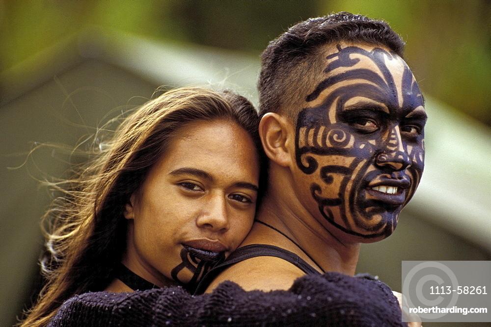 Painted Moko on Maori couple, Waitangi, New Zealand