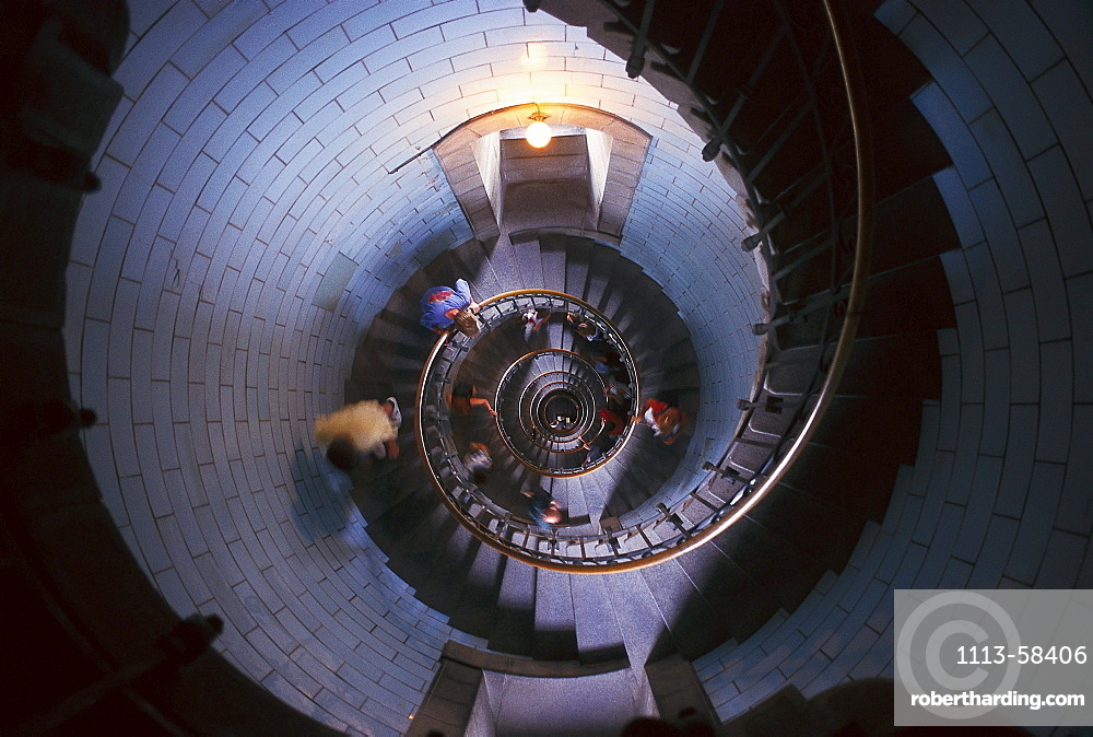 Interior view of the Penmarch lighthouse, Eckmuhl, Brittany, France, Europe