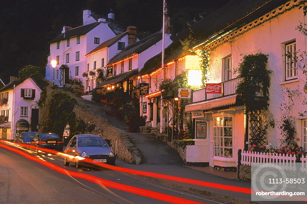 Houses at the town of Lynmouth in the evening, Devon, England, Great Britain, Europe