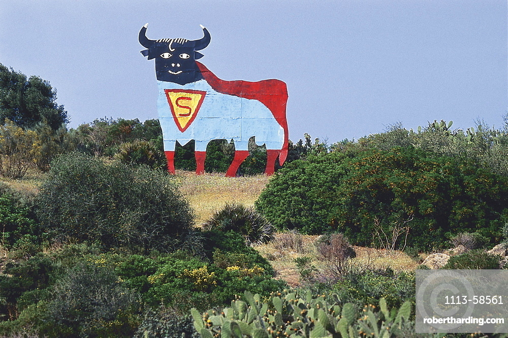 Painted sign of a bull in remoted landscape, Andalusia, Spain, Europe