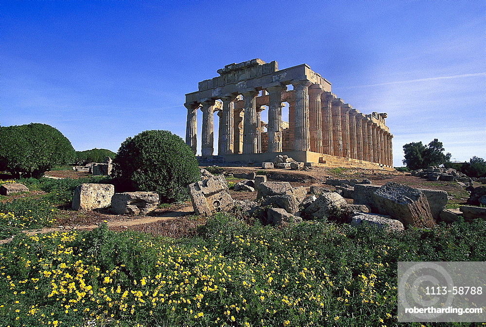 Heraion temple in the sunlight, Selinunte, Sicily, Italy, Europe