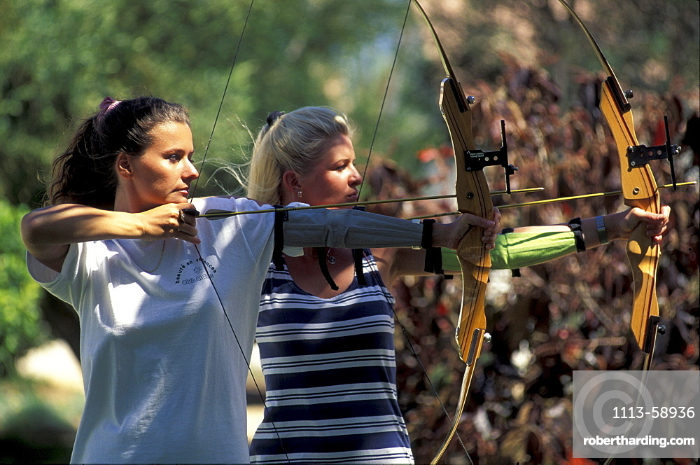 Women at archery at Club Aldiana, Fuerteventura, Canary Islands, Spain, Europe