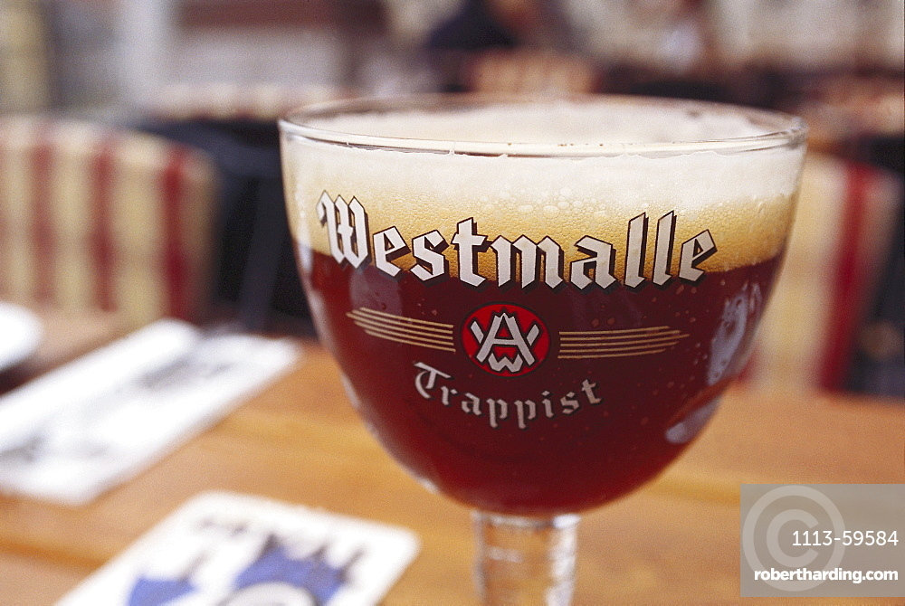 Beer glass with Trappist beer, Bruges, West Flanders, Belgium