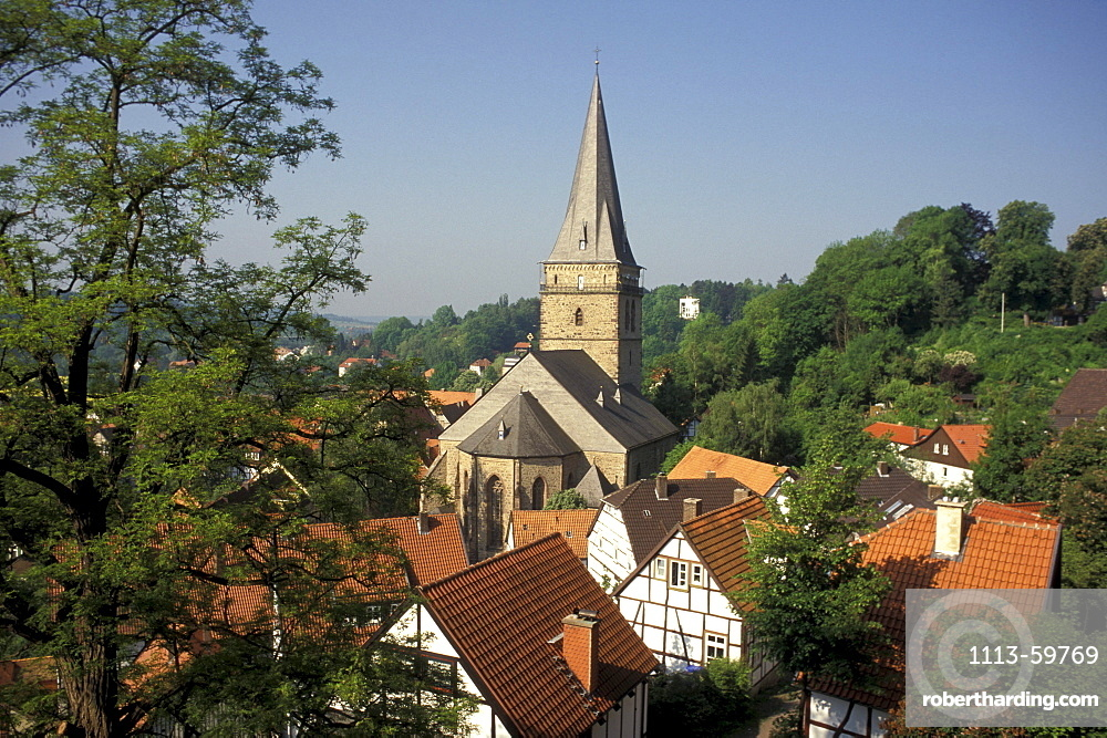 Half-timbered houses and church in the sunlight, Warburg, North Rhine-Westphalia, Germany