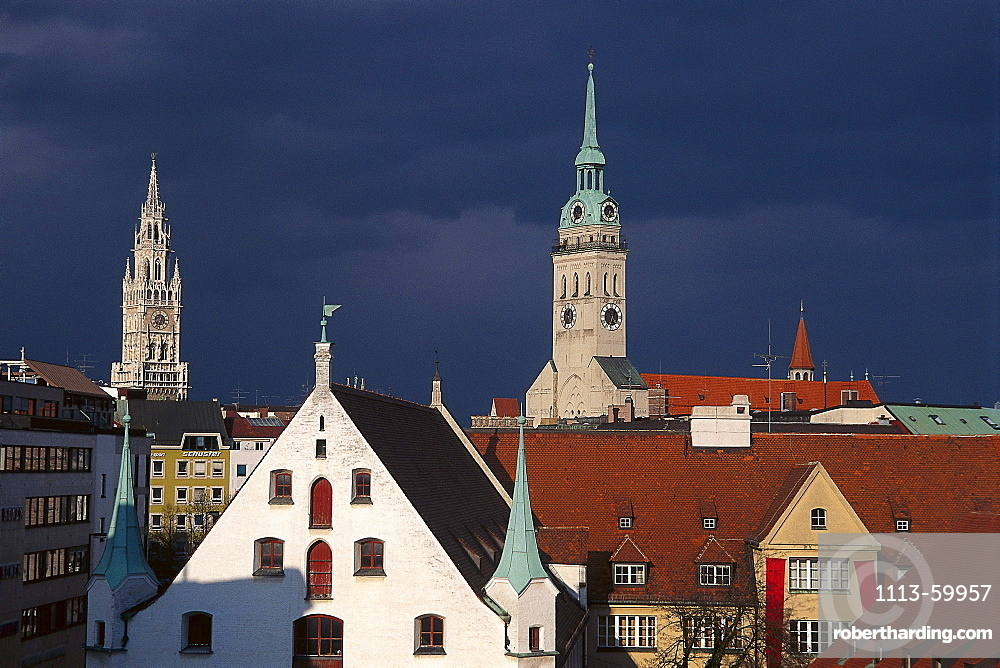 Cityscape view, Alter Peter, Statdmuseum, Munich, Bavaria, Germany