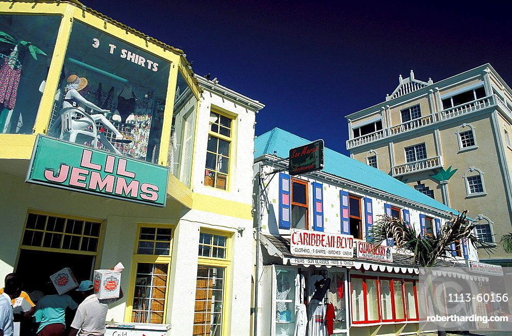 Colourful facades of houses, Marigot, Saint Martin, Caribbean, America