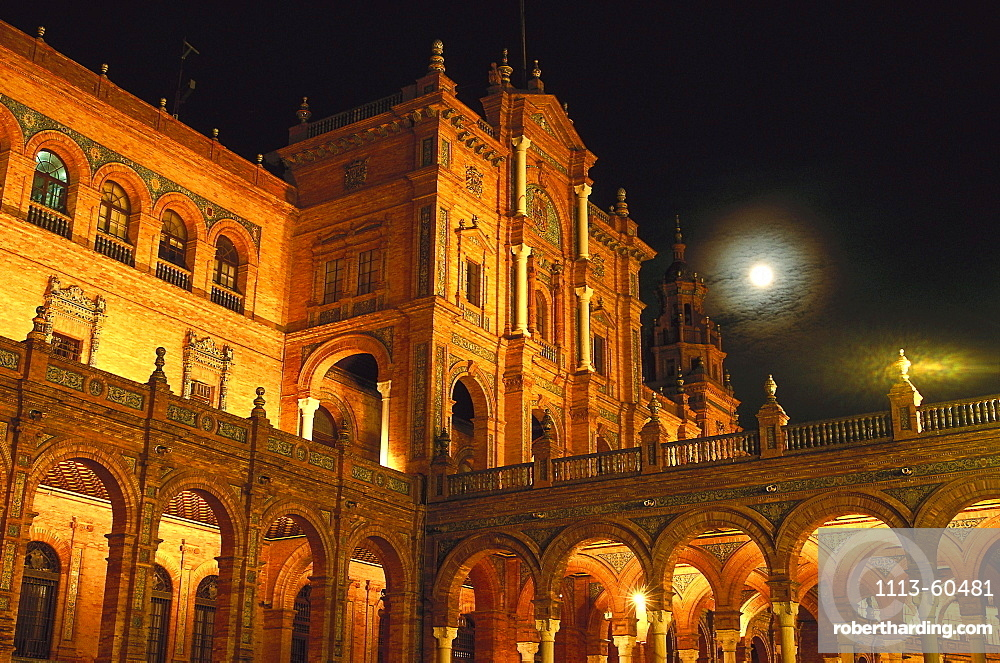 Buildings of Plaza de Espana at night, Seville, Andalusia, Spain, Europe