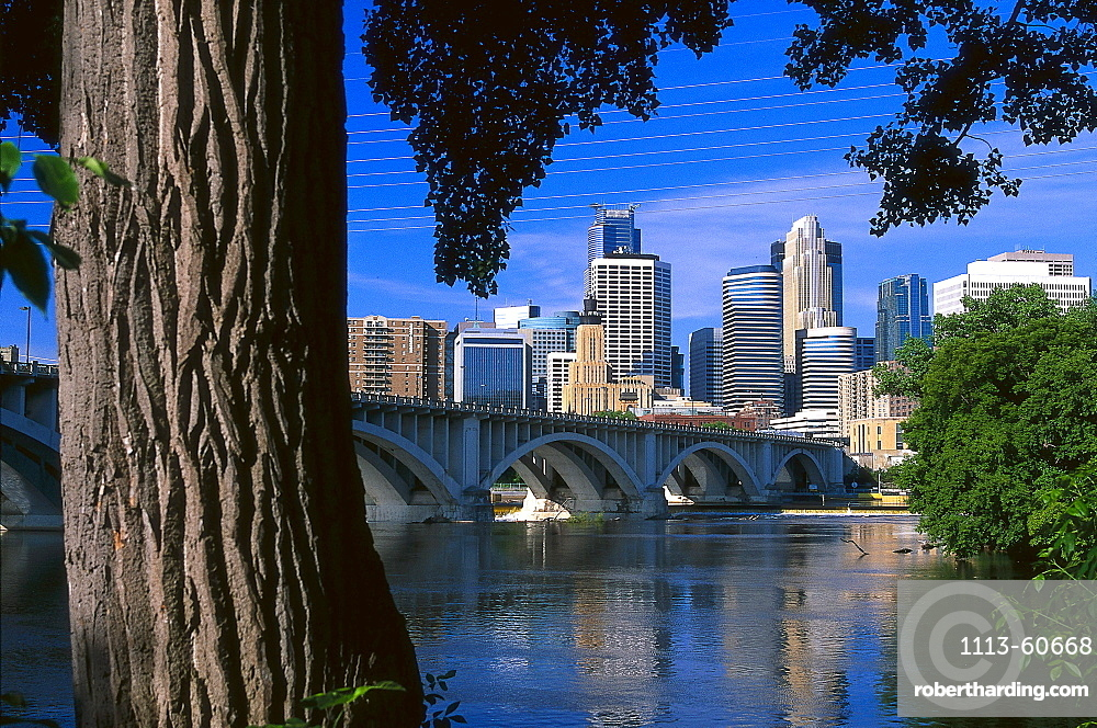 Skyline in the sunlight, Twin Cities, Minneapolis, Minnesota USA, America