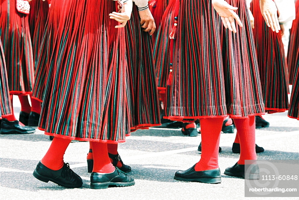 People in traditional costumes at traditional celebration, Tallinn, Estonia