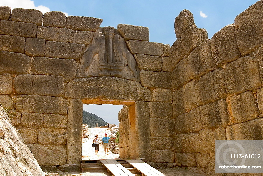 Lion gate, wall around the acropolis of Mycenae, Peloponnese, Greece