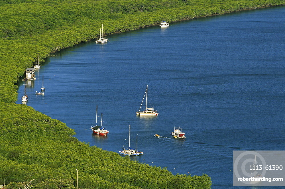View from Grassy Hill lookout, Cooktown, River Endeavour, Cape York Peninsula, Queensland, Australia