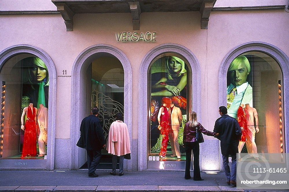 People in front of the shop windows of a boutique, Via Monte Napoleone, Milan, Lombardia, Italy, Europe