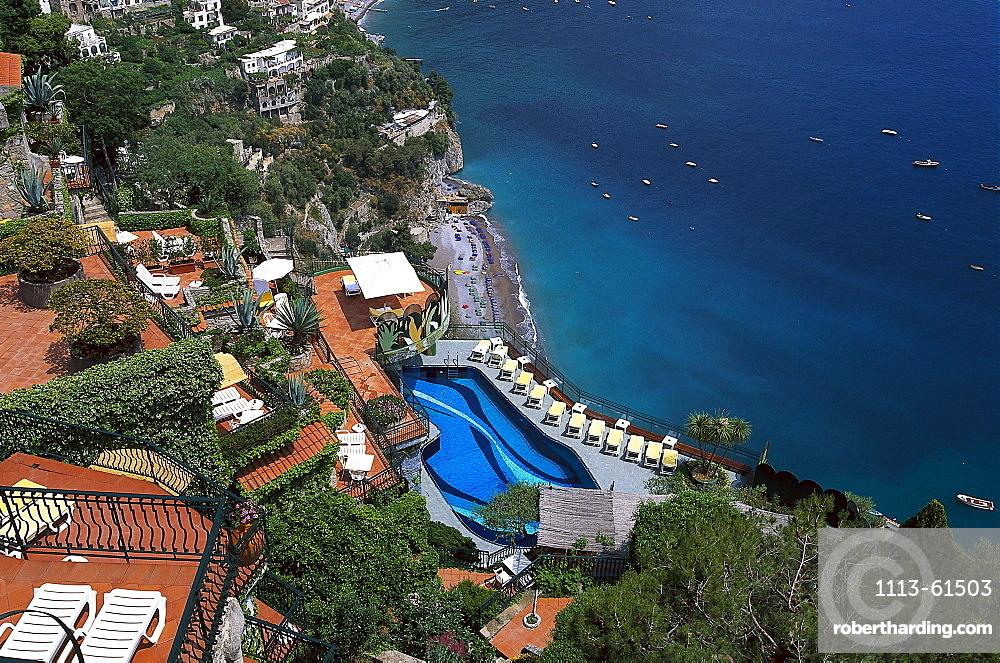 View to the pool of the hotel Le Agavi, Positano, Amalfitana. Campania, Italy